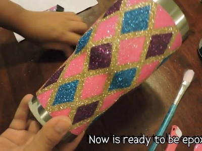 PART 2. DIY. How to make a glitter tumbler, rhomboid design.