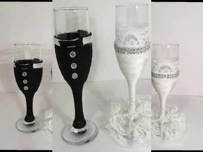 SHORT DIY - BRIDE AND GROOM TOASTING WINE GLASSES