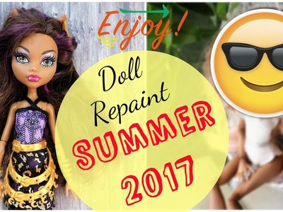 Summer Holidays Monster High Doll Repaint. How to customize BJD Easy. DIY Bikini Barbie Handmade