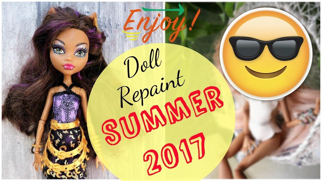 Summer Holidays Monster High Doll Repaint. How to customize BJD Easy. DIY Bikini Barbie Handmade