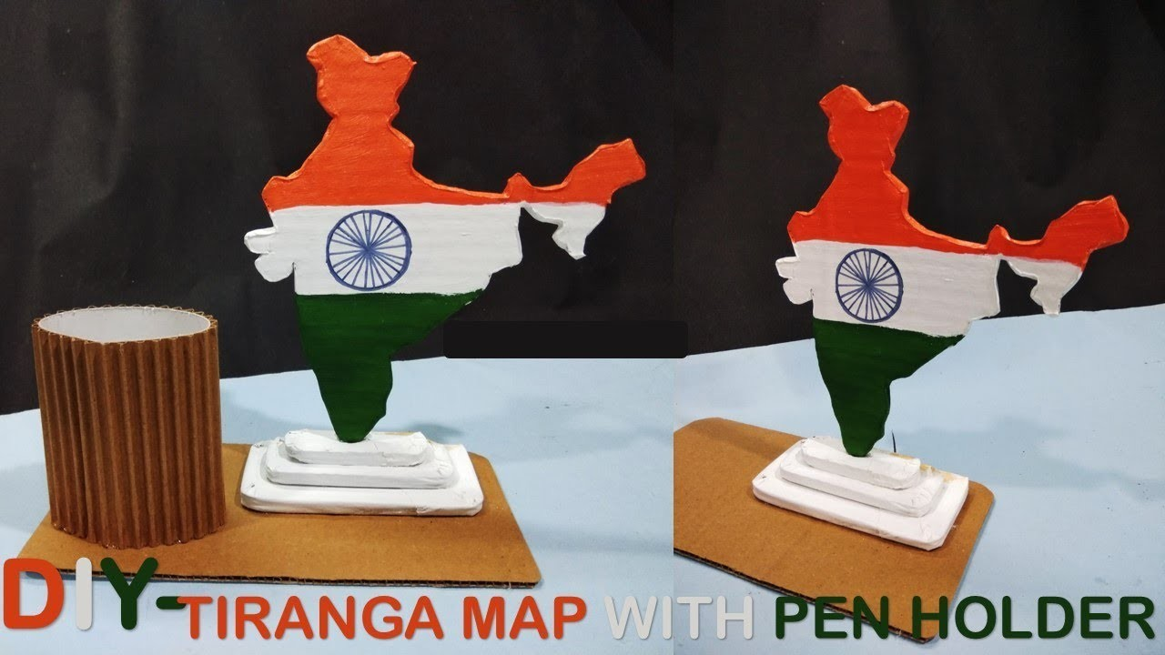 Tiranga map with pen holder || DIY Best out of waste || Diy & craft
