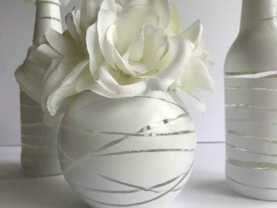 ALL WHITE BOTTLE UPCYCLE | DIY DOLLAR TREE WEDDING OR PARTY IDEA