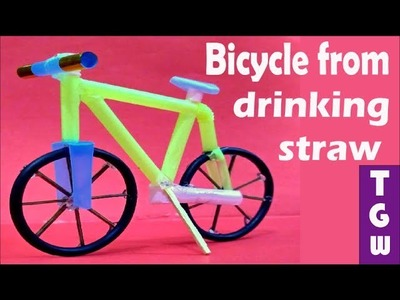 Diy ahndmade bicycle from drinking straws for kids