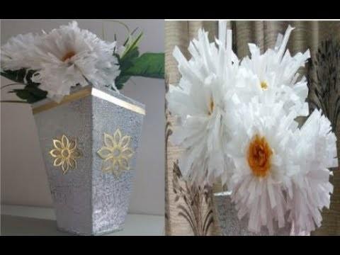 & DIY CARDBOARD FLOWER VASE \u0026 RECYCLED PLASTIC BAG DAISY FLOWERS
