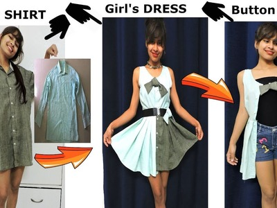 DIY: Convert. Reuse Men's SHIRT into Girl's DRESS. BUTTON SHRUG