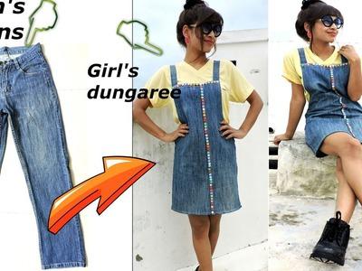 DIY: Convert.Reuse old Men's Jeans into girls DUNGAREE DRESS. DUNGAREE SKIRT