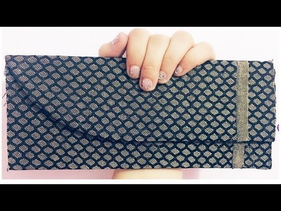 DIY Fabri & Cardboard clutch. no sew clutch.Diy clutch