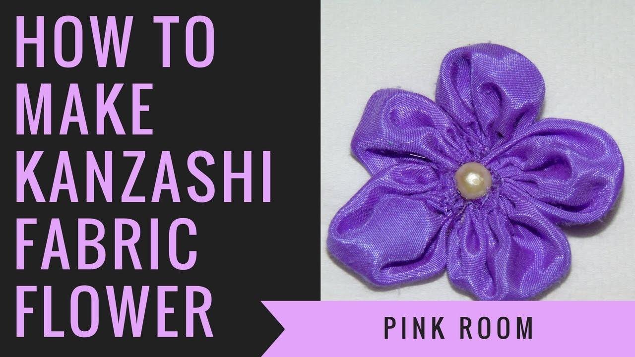 DIY How to make Kanzashi fabric flower | Pink room