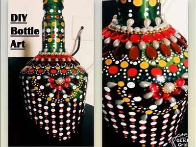 DIY, room decor, easy way to decorate empty bottle with dot art . .