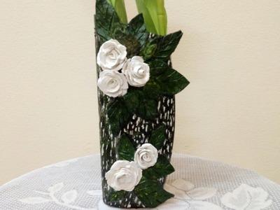 DIY | Shampoo Bottle Vase | Air-dry Clay Vase | Vase making | Best Out of Waste