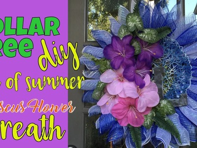 Dollar Tree DIY:  Summer's End Hibiscus Wreath - Do-it-Yourself with DT Flowers