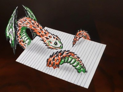 Drawing a 3D Winged Creature on Line Paper - Tick Art