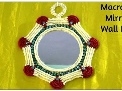 Full making of Handmade Macrame Mirror Wall Piece| Design#3|DIY Wall Hanging Using Mirror