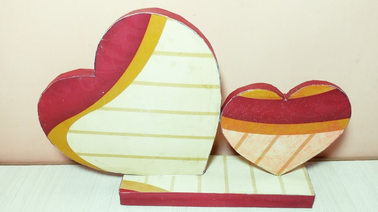 Heart showpiece diy best out of waste my crafts and diy for Showpiece from waste material