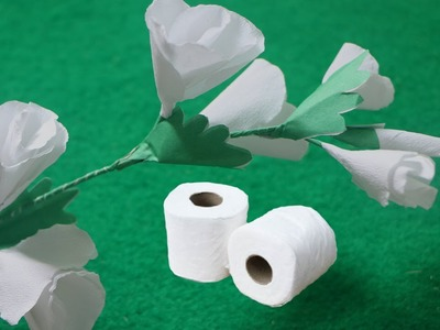 How to make Butterfly White flowers from Toilet Tissue Paper - Crepe Paper Flowers