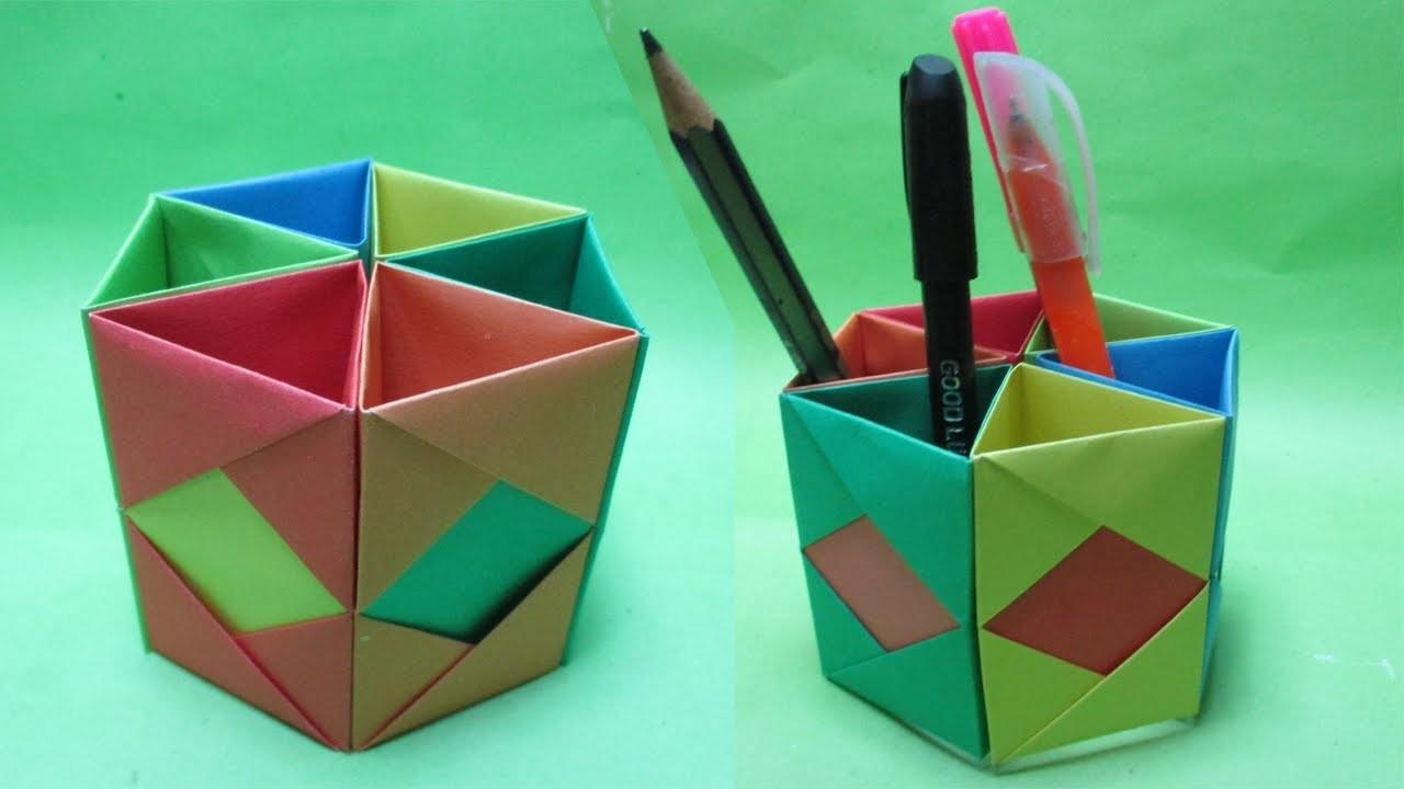 how to make hexagonal paper pen pencil holderorigami pen