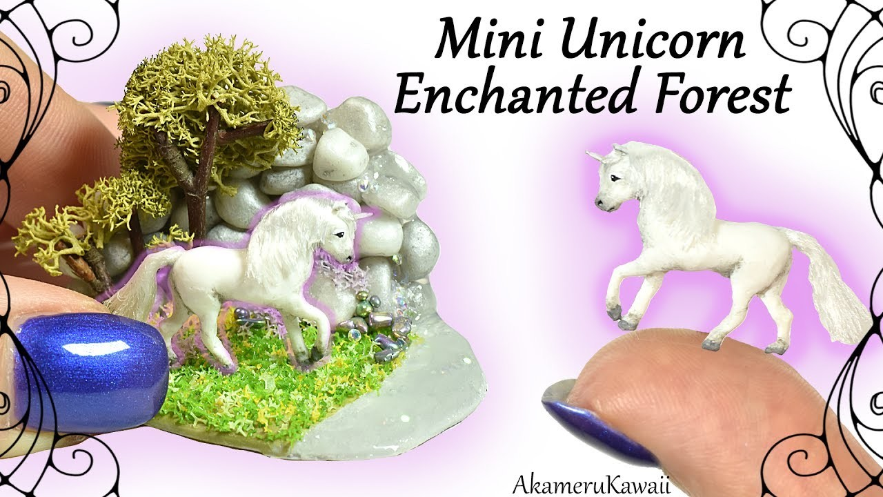 How to: Mini Unicorn Enchanted Forest. Fairy Garden - Polymer Clay Tutorial