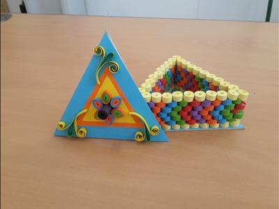 Quilled Triangle Box with paper Quilling Strips part 1 # Quilling jewelry Box  by art life