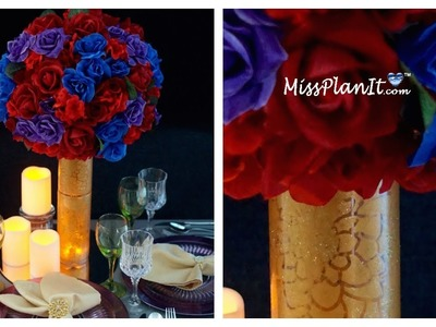 Tall Vintage Wedding Centerpiece. DIY. How to Create this Vintage Glam Wedding Centerpiece