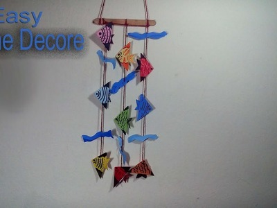 Wall Hanging Home Decoration Idea with origami fish - DIY Home Decor