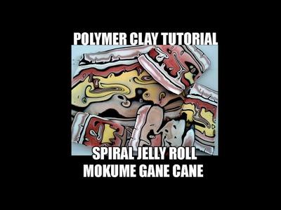 069-Polymer clay tutorial - spiral jelly roll mokume gane cane