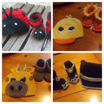 3 to 6 Month Baby Booties & hats