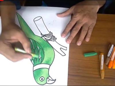 Art & Craft: How to Draw A Parot with Colour. টিয়া পাখি অংকন