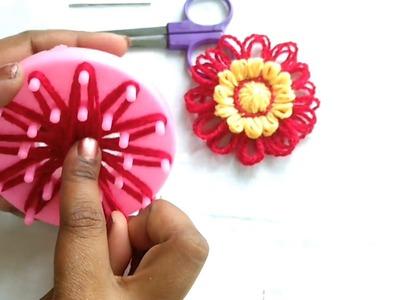 Crochet loom flower-crochet in Hindi