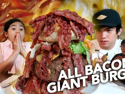 DIY ALL BACON GIANT BURGER FOR DAD!!! | Ranz and Niana
