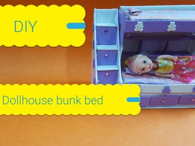 DIY dollhouse bunk bed made with cardboard