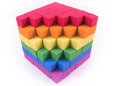 DIY Kinetic Sand Rainbow Cube Learn Colors for Babies Kids Children