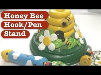 DIY Polymer Clay Honey Bee Hook or Pen Stand