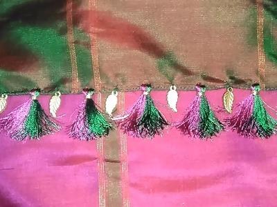 Half And Half Saree Kuchu With Leaf Bead || Half And Half Saree Kuchulu With Leaf Bead
