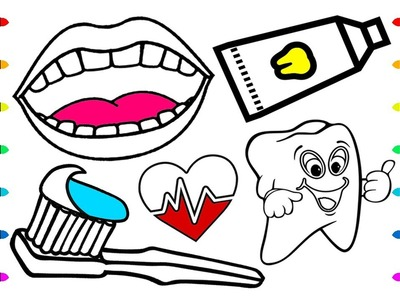 How To Draw Baby Dental Care Coloring Book Rainbow teeth, lips, toothbrush, toothpaste Art colours