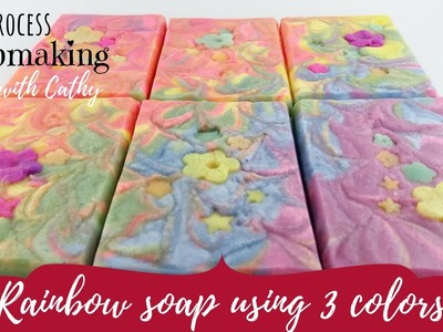How to make rainbow soap using 3 colorants | Budget Soap Making for beginners - 088