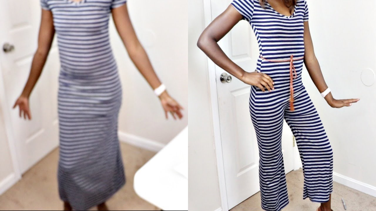 HOW TO TURN A SUMMER MAXI DRESS TO JUMPSUIT! (Sewing Tutorial)