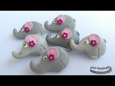 ~JustHandmade~ How to make a polymer clay (fimo) elephant brooch