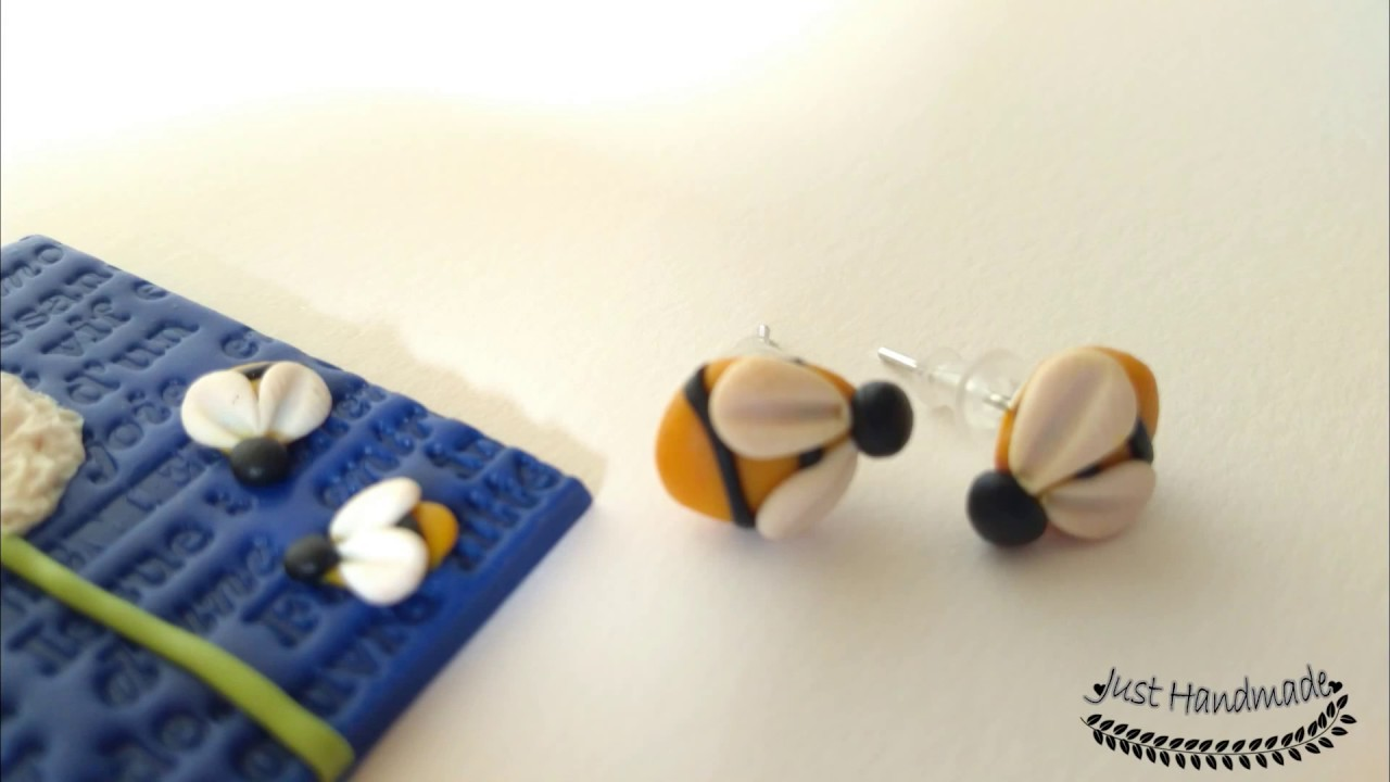 ~JustHandmade~ Polymer clay (fimo) bee - earrings