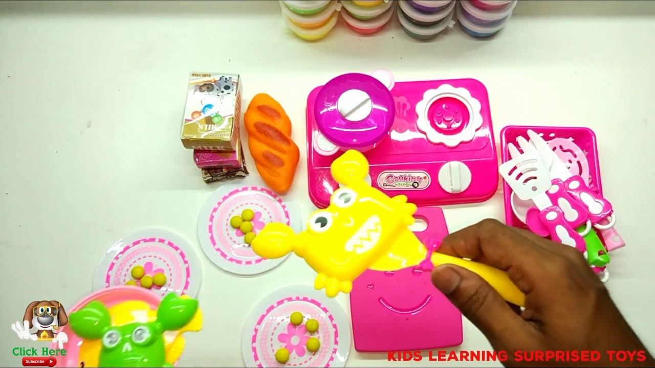 Kids Craft Kitchen Set Baby Doll And Hello Kitty Kitchen Car Surprise Eggs And Food Toys Play
