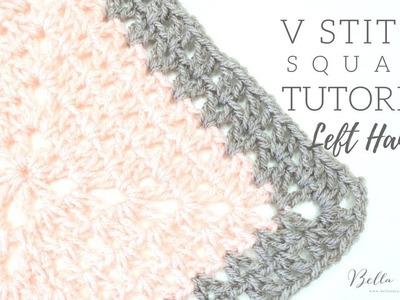 LEFT HANDED CROCHET: V Stitch Square | Bella Coco
