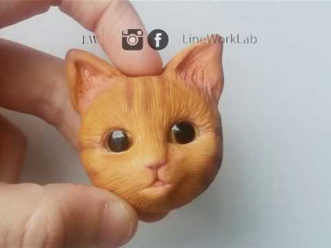[LineWorkLab] Polymer clay cat head making of time-lapse. speed sculpting
