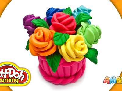 Play Doh Roses. Bouquet Cupcake. Play-Doh Rainbow Roses Cake. Learn Colors for Kids. Playdough Craft
