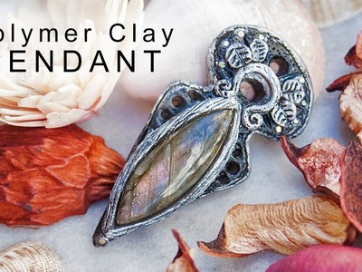 Polymer clay pendant with gemstone Labradorite | Making Process