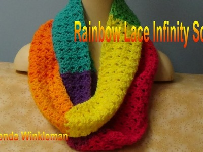 Rainbow Lace Infinity Scarf -   Lion Brand Mandala Yarn (Free Pattern at the end of video)