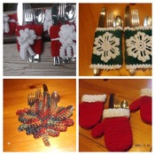 Set of four Holiday/seasonal Silverware Holders