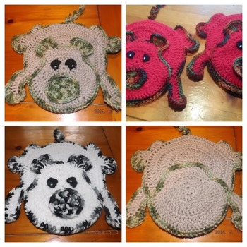 Set of Two Heavy Duty Potholders - Pig