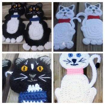 Set of Two Heavy Duty Potholders - Cats
