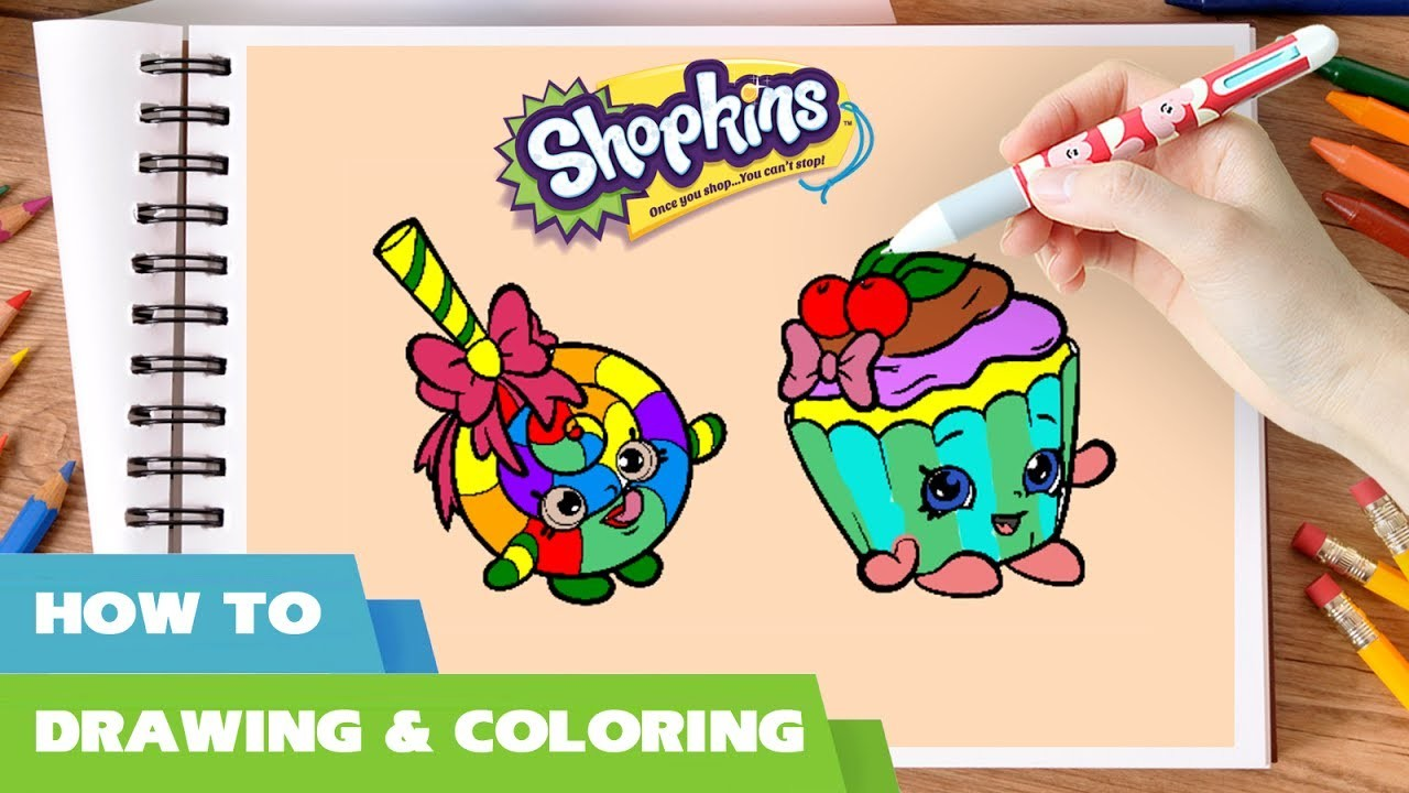 Shopkins coloring pages how to draw shopkins toys rainbow lollipop cherry cupcake shopkins video