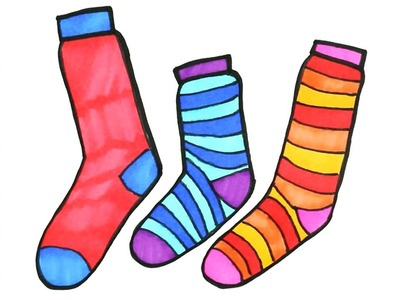 Socks Coloring Pages - Drawing for Kids | How to Draw Rainbow Socks | Art Colors for Children