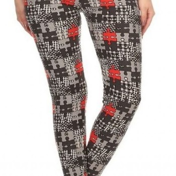 Autism Red/Black Puzzle Extra Plus Leggings